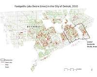 Unofficial pathways visible from orbit play role in Detroit redevelopment