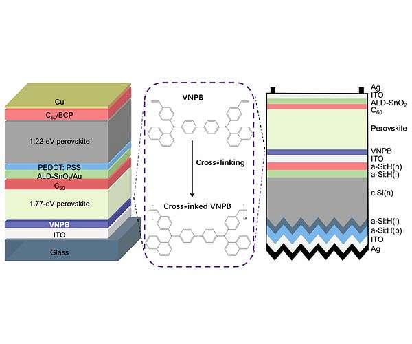 High-efficiency perovskite tandem solar cells using cross-linked layers