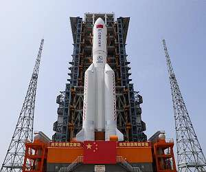 china long march 5b y2 rocket core module tianhe space station launch pad day lg