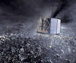 ustración del descenso de Rosetta al cometa. / ESA-AOES Medialab