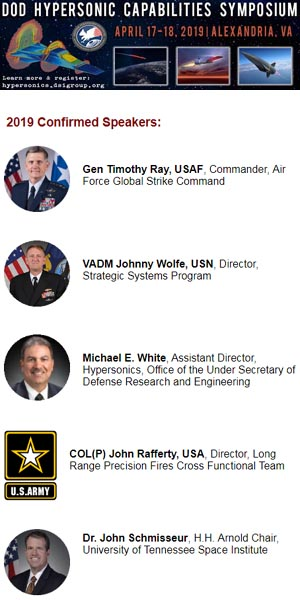 2019 DoD Hypersonic Capabilities Symposium | April 17-18, 2019 | Alexandria, VA