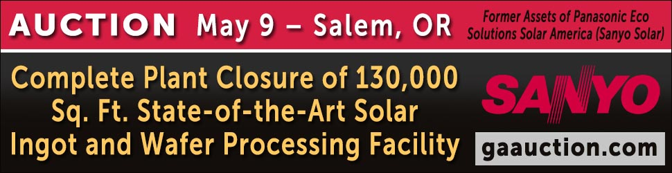 Sanyo Solar North America Production Plant Equipment Auction